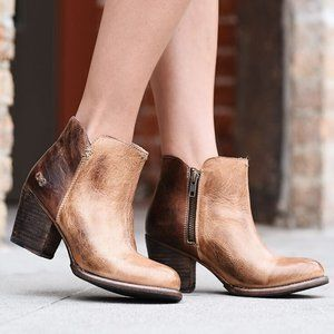 [Bed Stu] Yell Tan Teak Distressed Zip Ankle Boots